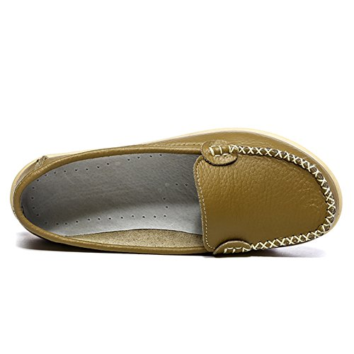 Mocassini Casual Da Donna In Pelle Morbida Hecater Slip On Driving Mocassini Oliva