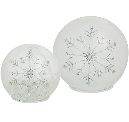 ted Snowflake Glass Globe Cordless Lamp Ball by CYPRESS, Pack of 2 (Night Lights Snow)