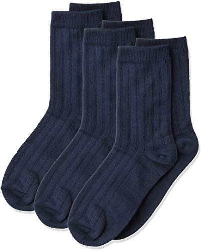 Jefferies Socks Boys' Big Three-Pack Rib Crew Socks, Navy, Medium
