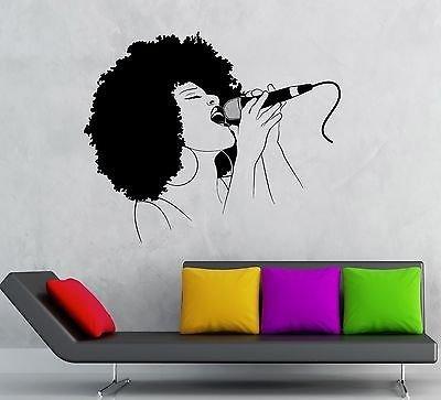 - V-studios Vinyl Decal Black Lady Singer Music Woman Karaoke Hot Girl Wall Stickers VS56