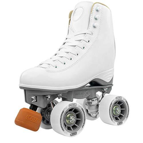 Crazy Skates Celebrity Art Roller Skates - Classic High White Artistic Quad Skate (Size Ladies 6)