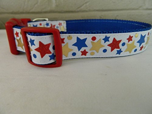 Schmoopsie Couture Patriotic Red Sparkle, Gold Foil and Blue Stars Dog Collar (Medium (11