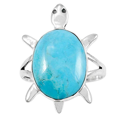 - Turtle Turquoise Ring Sterling Silver 925 Genuine Gemstones Size 6 to 11 (Choose Color) (9)