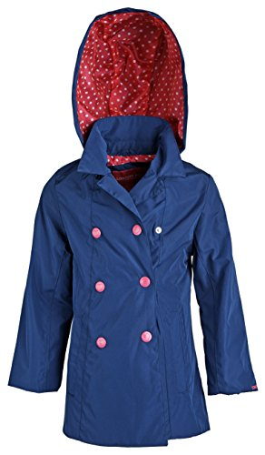 London Fog Baby Girls Double Breasted Spring Trenchcoat with Detachable Hood - Navy (12 Months)