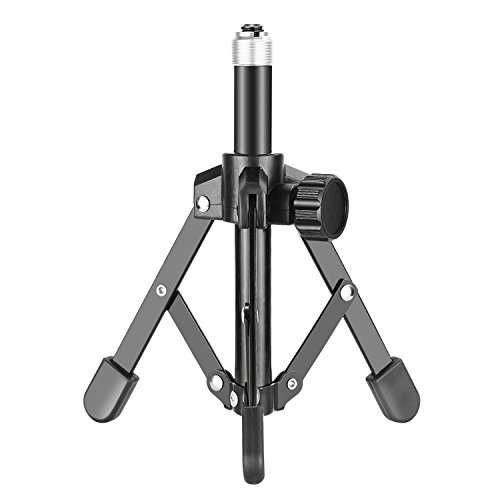 Neewer NW-12 Foldable Iron Desktop Microphone Stand - Tabletop Mini Foldable Tripod for Lectures, Podcasts, Online Chat, Meeting, Screencasts and More (Mic Clip Not Included)