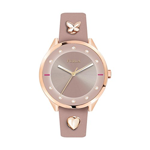 Furla Women's R4251102541 Pink Dial with Pink Leather Calfskin Band Watch.