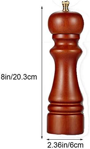8 ''炭素鋼コアローター、調整可能な粗い、細かい適切な滑らかなブレード、スパイスミル、キッチンに適したラバーウッドペッパーグラインダー