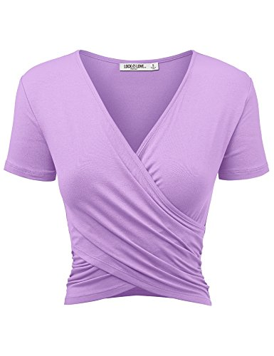 WT1732 Womens Short Sleeve Cross Wrap Crop Top M Lilac