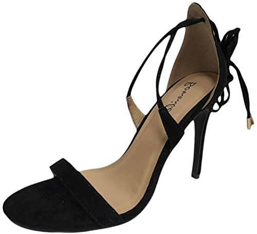 Womens Catrina-1 Ghillie Ankle Wrap Stiletto Heeled Shoe Sandal Black GKLQn