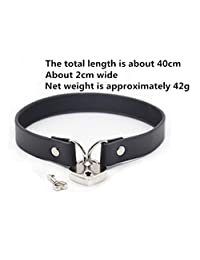 happinesssale Women's Colorful Faux Leather Heart-Shaped Lock Choker Collars