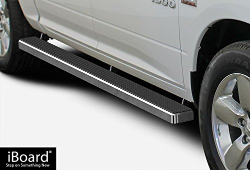 iBoard (Silver 4 inches) Running Boards | Nerf Bars | Side Steps | Step Rails For 2009-2018 Ram 1500 Crew Cab Pickup 4Dr & 2010-2018 Ram 2500/3500 (2015 Running 2500 Ram Boards)