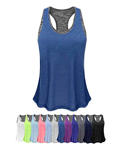 Women Tank Top with Built in Bra, Lightweight Yoga Camisole for Workout Gym Fitness(Dark Blue&Gray Bra, XL)