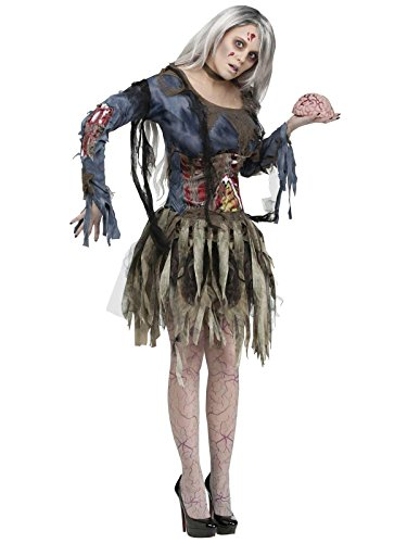 Fun World Women's Zombie Costume, Grey, (Zombie Costume For Female)