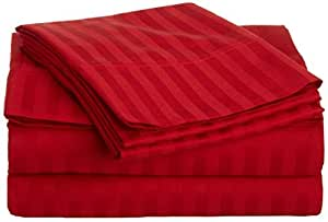 1pieza sábana bajera + 2piezas Funda de almohada–-- 400ThreadCount rojo rayas UK Super-King 100% algodón egipcio Extra profundo bolsillo (30Inche)–as1