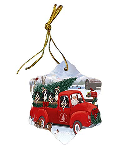Christmas Santa Express Delivery Greater Swiss Mountain Dogs Family Star Porcelain Ornament - Swiss Dog Mountain Ornament