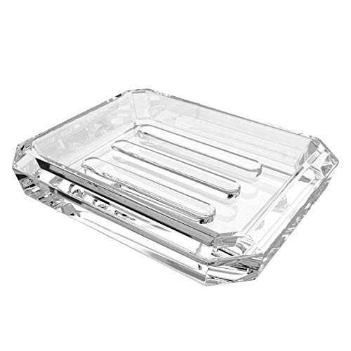 LinkIdea Rectangle Glass Bar Soap Dish, Soap Saver Tray for Bathroom Counter, Glass Sponge Dish Holder Case Box for Shower (Clear) (Rectangle)