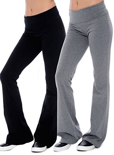 Unique Styles Fold-Over Waistband Stretchy Cotton Blend Yoga Pants (Medium-2Pack Black & Grey) from Unique Styles