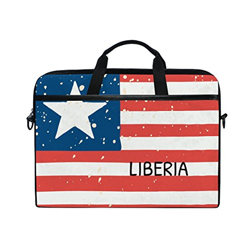 Distressed Liberia Flag 14 Inch Laptop Shoulder Messenger Bag Case Sleeve Briefcase with Handle for Women Men ()