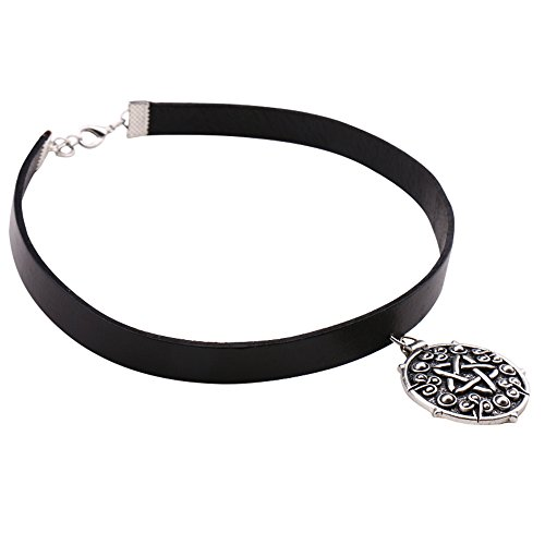 Magical Jewelry Gift Co. Yennefer Medallion Cosplay Faux Leather Choker Necklace - Black/Silver