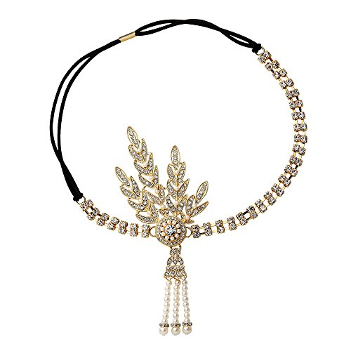 BABEYOND 1920's Flapper Headband Great Gatsby Inspired Headpiece 1920s Flapper Gatsby Accessories Art Deco Hair Accessories Headband (Gold) ()