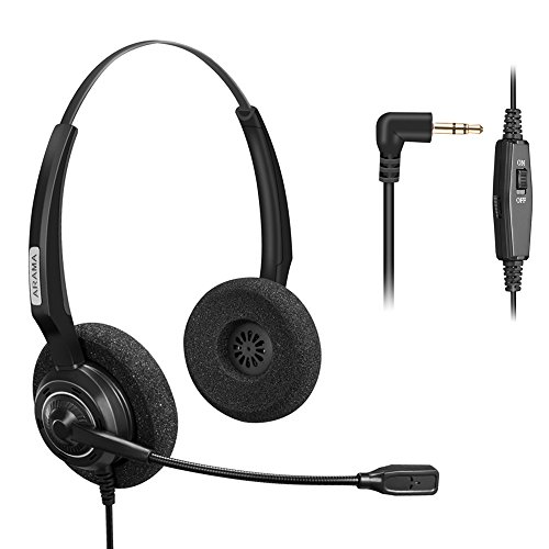 Arama Telephone Headset with BOOM Mic Volume Mute 2.5mm Jack for Cisco Linksys SPA Polycom Panasonic Zultys Gigaset Grandstream Office IP and Cordless Dect Phones by Arama