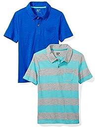 Spotted Zebra Boys 2-Pack Slub Jersey Short-Sleeved Polo Shirts