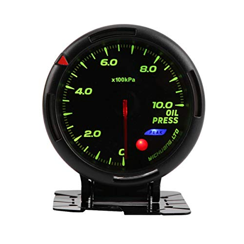 (12V 64 Color Backlight Oil Pressure Meter Gauge 10Bar with Sensor NPT1/8 for Auto Racer Black Unversal Accessories)