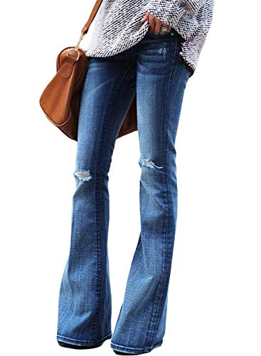 Sidefeel Women Ripped Flare Jeans Mid Rise Fitted Denim Pants Large Light Blue