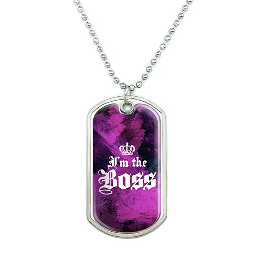 Crown Dog Tag Necklace - Graphics and More I'm The Boss with Crown Military Dog Tag Pendant Necklace with Chain