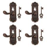 1cce848fdf1 iraintech Pack of 4 1 12 Dollhouse Miniature Hardware Vintage Metal Right  Handle Door Knob