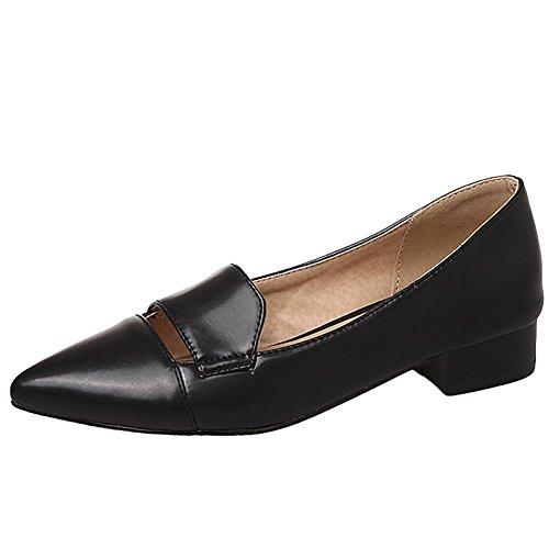 Carolbar Mujeres Pointed Toe Fashion Office Lady Low Heels Mocasines Zapatos Negro