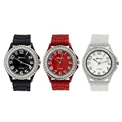 Geneva Platinum Silicone Band CZ Watch Set (Black, White, Red)