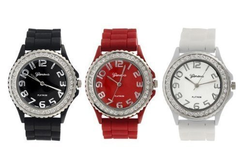 Platinum Silicone Band CZ Watch Set (Black, White, Red)