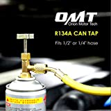 R134A Can Tap Valve Refrigerant Dispenser Tool with Tank Adapter for 1/4 and 1/2 inch AC Freon Charging Hose