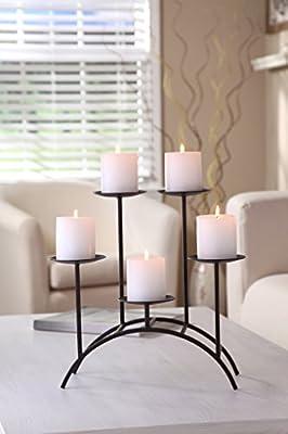 Hosley's Fireplace or Den, 17 Inch Iron 5 Pillar Candleholder. Modern Art, Classic Design, Hand Made By Artisans. Ideal Gift, weddings, Spa, Reiki, meditation, Party, bridal, votive tea light gardens