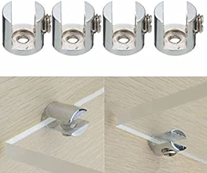 4 piezas de soporte de estante de aleaci/ón de zinc cepillado de metal ajustable para vidrio de 3-28 mm de espesor INCREWAY Abrazadera de vidrio