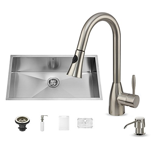 VIGO 30 Inch Undermount Single Bowl 16 Gauge Stainless Steel Kitchen Sink  With Aylesbury Stainless Steel Faucet, Grid, Strainer And Soap Dispenser