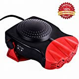 Car Heater, WZTO Portable 12V Car Heater, 30s Fast Heats Vehicle Windshield Car Defrosts Defroster Heater, 150W Auto Ceramic heater for Car, Cooling Fan with 3-Outlet Plug in Cigarette Lighter (Red)