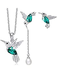 Hummingbird S925 Sterling Silver Jewelry Set Women Pendant Necklace and Stud  Earring Set Crystals from Swarovski 90de34158d78
