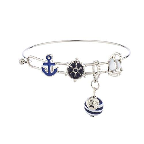 Lux Accessories Silvertone Nautical Blue White Anchor Sailboat Charm (Boat Bracelet)