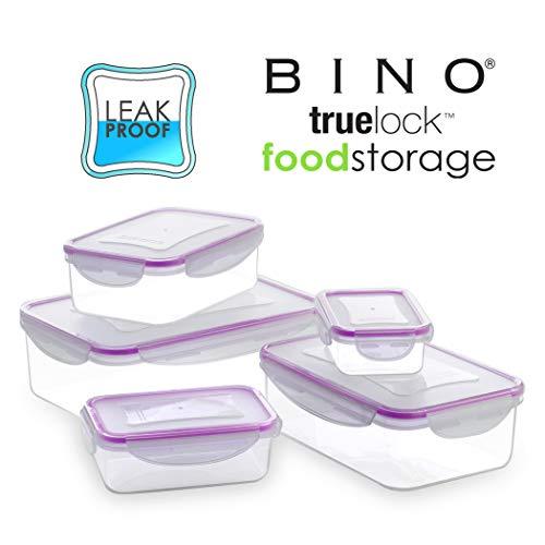 (BINO TRUELOCK 10-Piece Rectangular Leak-Proof Plastic Snap Lock Food Storage Container Set with Lids, Lavender)