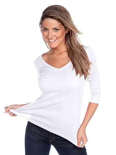 Kavio! Women V Neck 3/4 Sleeve Top White M