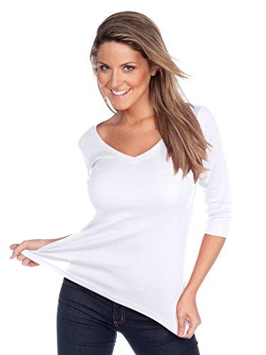 Kavio! Women V Neck 3/4 Sleeve Top White - 3/4 Cotton Sleeve Ladies Shirt