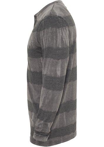 URBAN CLASSICS Fantasy Stripe Burnout L/S Henley TB533 darkgrey L