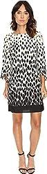 Tahari by ASL Women's Split Sleeve Gradient Print Shift Dress Ivory/Black Dress