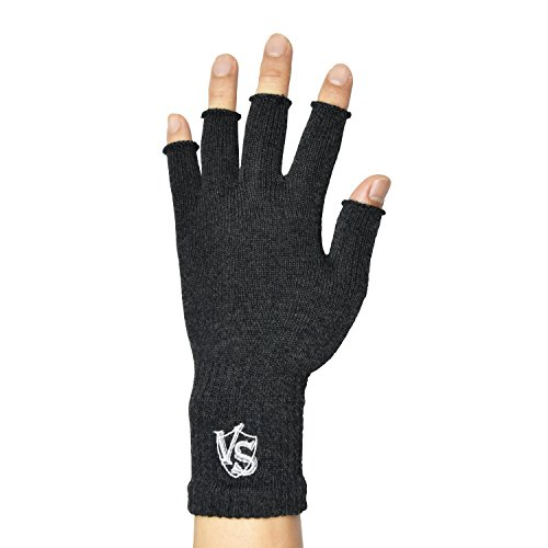 Vital Salveo -Stretchy Unisex Half Finger Texting Circulation Fingerless Recovery Arthritis Gloves (Pair)-Large-Dark Grey
