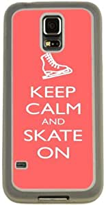 Rikki KnightTM Keep Calm and Skate On Tropical Pink Color Design Samsung? Galaxy S5 Case Cover (Clear Rubber with Bumper Protection) for Samsung Galaxy S5 i9600