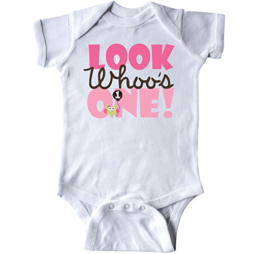 inktastic - Look Who is One Owl Infant Creeper 18 Months White -