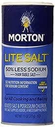Morton Lite Salt, With Half The Sodium Of Table Salt, 11 oz