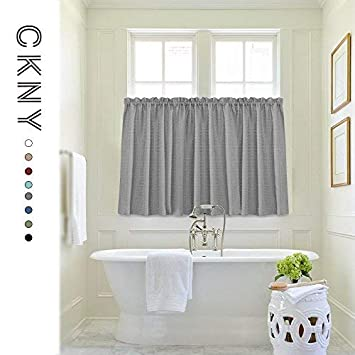 jinchan Tier Curtains Waffle Woven Half Window Curtain for Bathroom  Waterproof Kitchen Window Treatment Set 72 by 24 Inch Grey One Pair